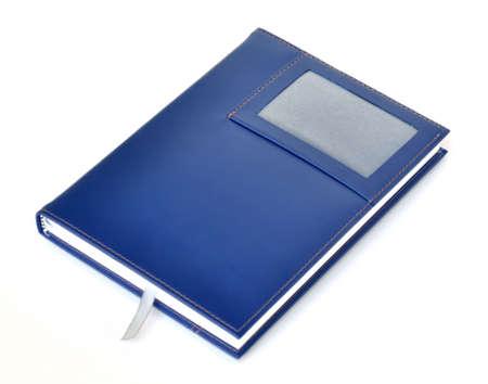 Dark blue leather notebook photo
