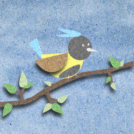 Bird recycle paper craft for background