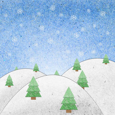 Snow field recycle paper craft for background Stock Photo