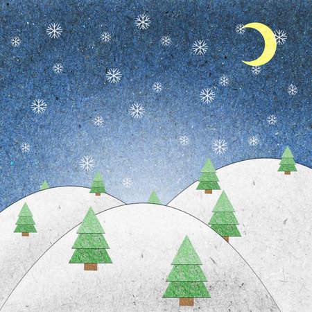 Snow field night recycle paper craft for background photo