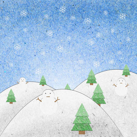 Snow field with snowman recycle paper craft for background Stock Photo