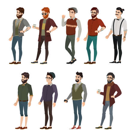 Fashion boy in different hipster images. In a cap with a longboard, there are braces and coffee in the hands of the distinctive features of a hipster Illustration