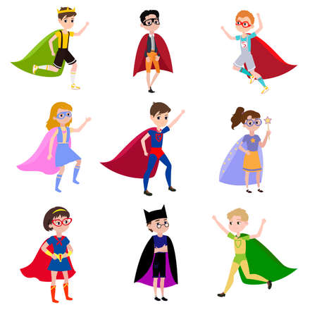 The boys is dressed in the clothes of various super heroes