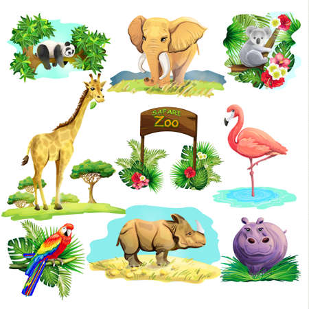 On the set of the zoo safari are animals giraffe elephant hippopotamus rhinoceros parrot panda.