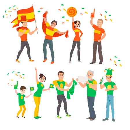football fans at the World Championships are pleased with the victory with flags and clothes of the color of their country