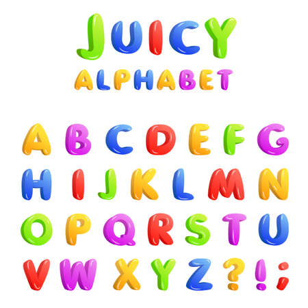 Childrens font in the cartoon style. Vector illustration