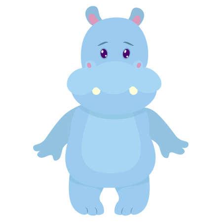 Hipopótamo dibujado a mano. Colores naturales. Colección de elementos vectoriales dibujados a mano. Ilustración