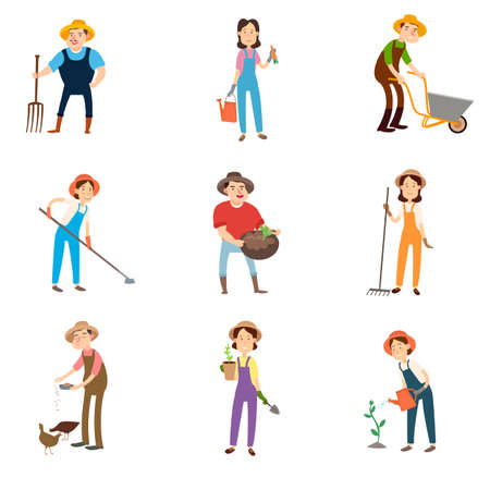 Set of farmers using agricultural tools. Farmer with a shovel, rake, watering can, hoe, fork, wheelbarrow. Farmer harvesting crop.