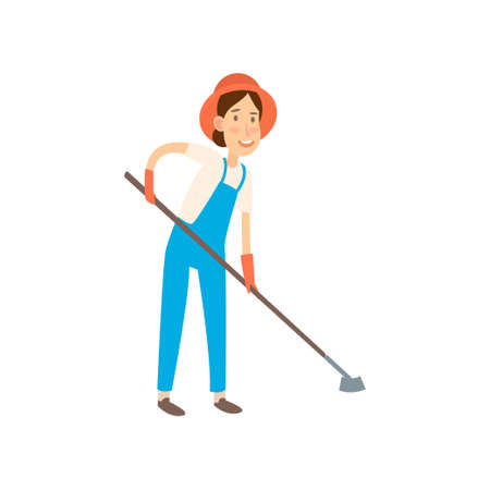 Flat design farmers set illustration vector. Farmer is going to cultivate the beds. Vettoriali