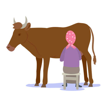 Farmers planting a crop. Farmer milking a cow.