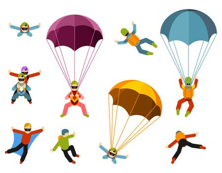 Extreme parachuting sport. Skydivers flying with parachutes set
