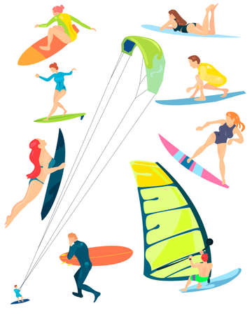 Summer sports of active modern young people windsurfing, surfing. Vector illustration isolated on white background.