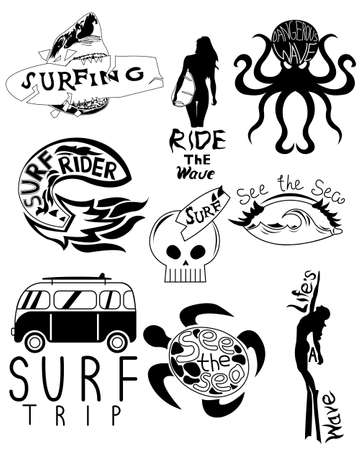 Main surfboard set retro car board shark waves and stuff black and white serfing. Vector illustration isolated on white background.