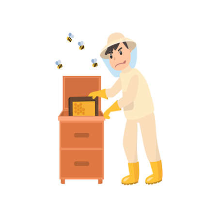 L'apiculteur récolte le miel des abeilles. Apiculteur dans une combinaison de protection contre les abeilles avec un pot de miel. Illustration vectorielle isolée sur fond blanc.