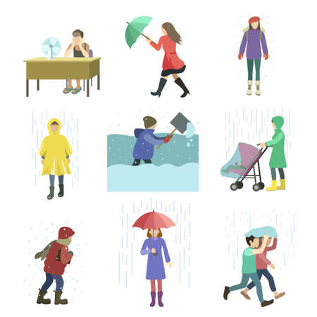 Set of people struggling with bad weather conditions such as strong wind raining large amounts of snow abnormal heat.