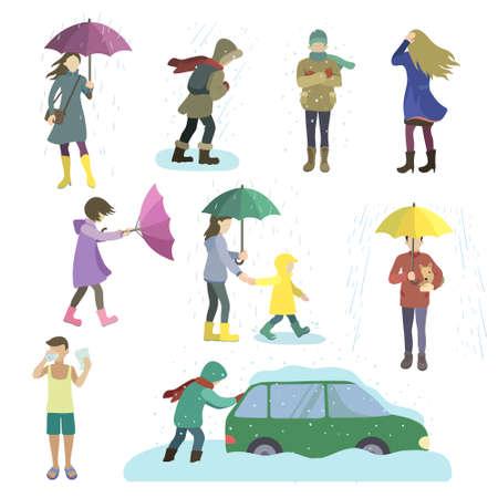 Ensemble de personnes aux prises avec de mauvaises conditions météorologiques telles qu'un vent fort faisant pleuvoir de grandes quantités de neige, une chaleur anormale.