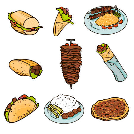 Most popular street kebab food wrapped in pita bread with vegetables and sauce. Illustration