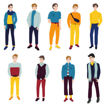 Young beautiful boy dressed in trendy clothes. The guy is wearing bright modern clothes.