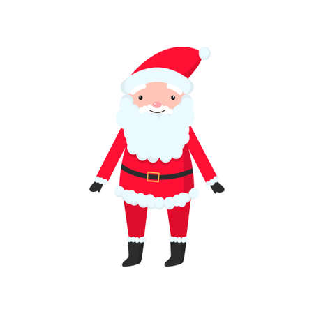 Bright and cheerful Santa Claus in a red suit and a long and thick beard congratulates everyone on the New Year. Vector illustration isolated on white background.