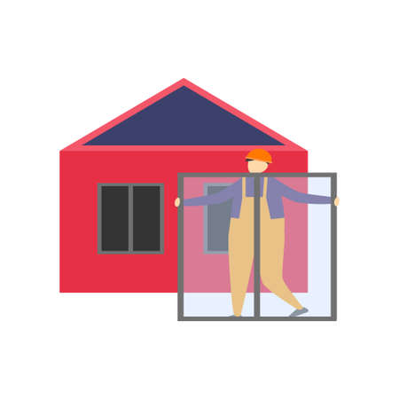 Builders in work clothes and protective helmets build houses, erect walls and roofs. Vector illustration isolated on white background.