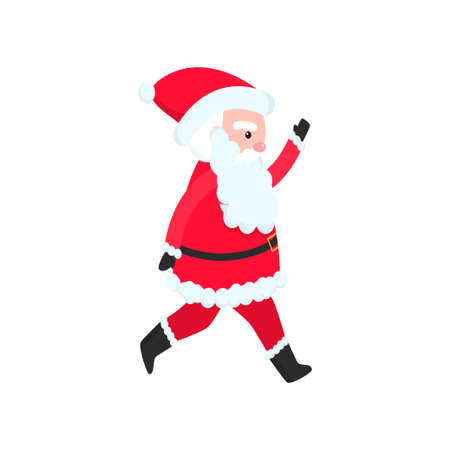 Bright and cheerful Santa Claus in a red suit and a long and thick beard congratulates everyone on the New Year. Banco de Imagens