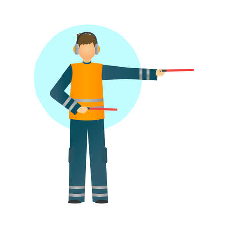 Special worker in reflective clothing showing signals for the aircraft. Vector illustration isolated on white background.