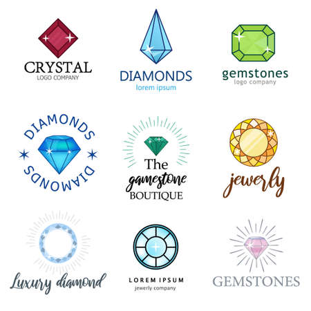 Expensive jewelry. Diamonds of different shapes and colors. Magic shining stones. A set of diamonds. Vector illustration of different food products on white. Illustration