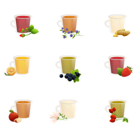 Natural fruit, herbal, black, green, Chinese tea with berries in cute cups of different shapes. Illustration isolated on white background.