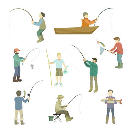 Fishermen spend time fishing. Fish in a boat, casting fishing rods, fishing with a net, sitting at a hole in the hole or holding a catch. Vector illustration isolated on white background.