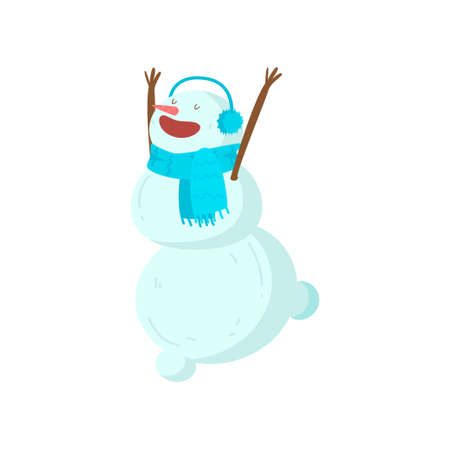 Funny funny snowman with a nose in the form of a carrot. Symbol of the year of the year. Vector illustration isolated on white background.