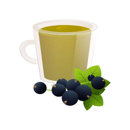 Tea from natural fruits. Berry tea in a cute transparent glass cup. Vector illustration isolated on white background. Çizim
