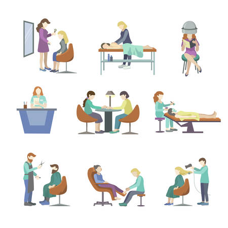People came to the beauty salon to make their hair styling, hair cutting, manicure, pedicure, beard cutting, massage and others. Vector illustration isolated on white background.