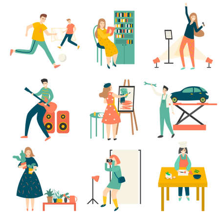 In their free time, people practice their favorite hobbies, play football, plant flowers, cook, repair cars, play musical instruments, draw, go to the gym, play computer games, and more. Illustration isolated on white background