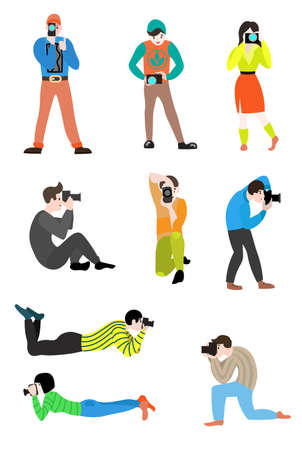Set of professional photographers of men and women who make beautiful shots from different angles, positions and places. Vector illustration isolated on white background.