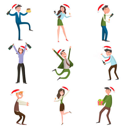 Workers of various professions celebrate the holiday dancing and having fun in formal clothes giving each other gifts and opening champagne. Vector illustration of different food products on white. Illustration