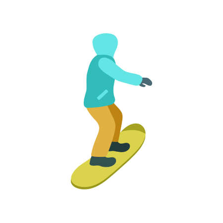 Young guy is riding a snowboard in stylish bright clothes. Vector illustration isolated on white background.
