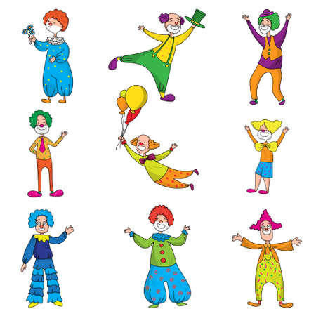 Set of funny characters clowns in beautiful colored clothes with different accessories for the circus. Clowns are having fun, laughing and doing different crazy things.