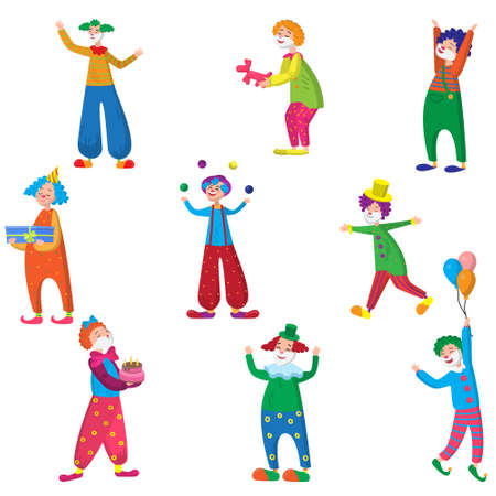 Set of funny characters clowns in beautiful colored clothes with different accessories for the circus. Clowns are having fun, laughing and doing different crazy things. Vector illustration of different food products on white.