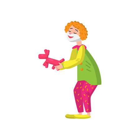 Funny clown in beautiful color clothes. Cute clown fun and entertains the audience. Vector illustration isolated on white background.
