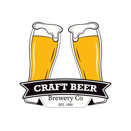 Label delicious foam beer drink. Label for the menu. Premium craft beer.