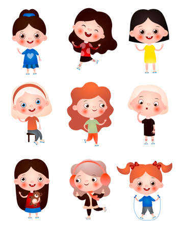 Funny funny kids with different hairstyles and hair color. Children spend their free time having fun and playing. Vector illustration isolated on white background.