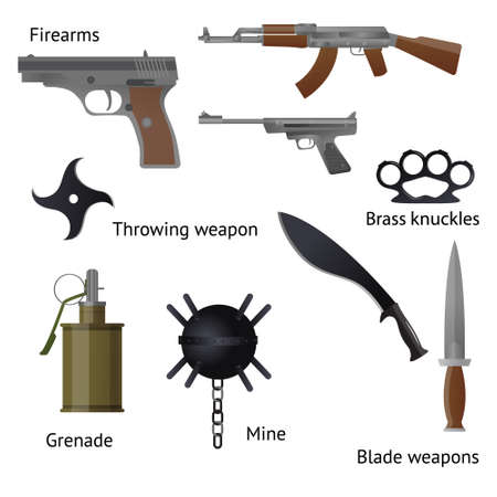 Set of military weapons and shotgun in the assembled form, rifles, machine guns, pistols, granyty and others. Illustration