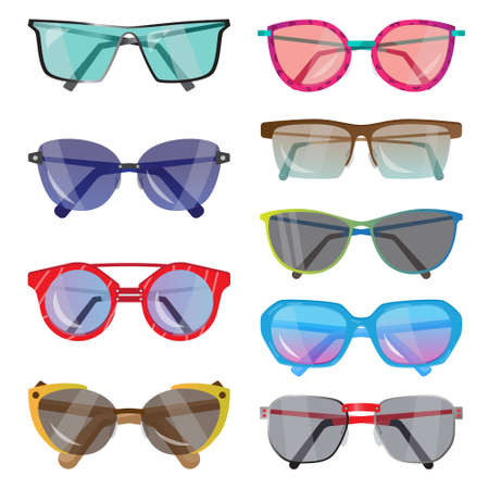 Set of fashionable sunglasses of different shapes, colors, and glasses. Vector illustration of different food products on white. Banque d'images - 127102395