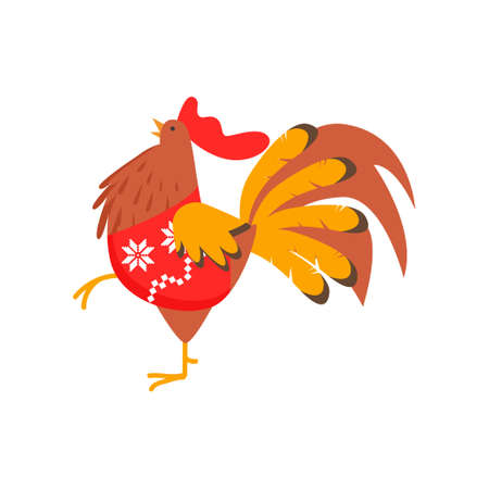Cute kind rooster symbol of the new year. Rooster in a trendy New Year sweater. Vector illustration isolated on white background.