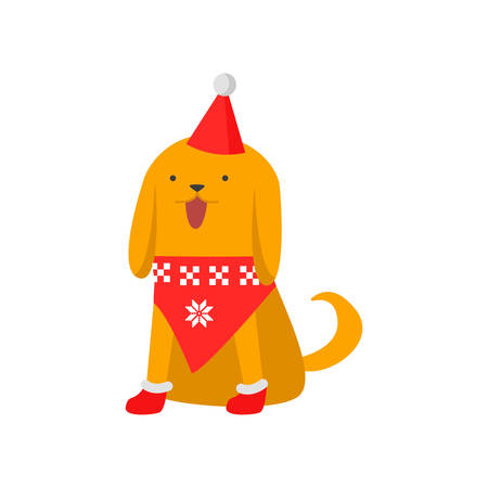 Cute good dog symbol of the new year. The dog in a trendy New Year s sweater, cap and boots. Vector illustration isolated on white background.