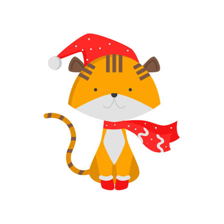 Cute good tiger symbol of the new year. Tiger cub in a fashionable New Year s scarf in boots. Vector illustration isolated on white background.