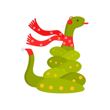 Cute kind snake is a symbol of the new year. Snake in a trendy New Year s scarf and hat on the tail. Vector illustration isolated on white background.