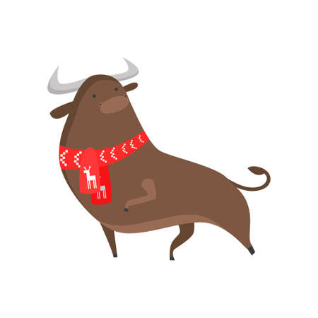 Cute good bull symbol of the new year. A bull in a fashionable New Year s scarf with big horns. Vector illustration isolated on white background.