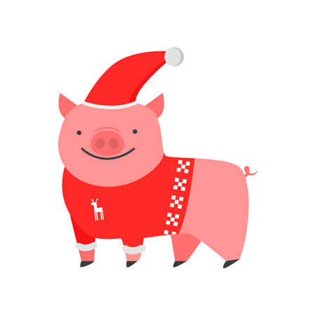 Dear kind pig the symbol of the new year. Piggy in a trendy New Year s sweater, cap and boots. Vector illustration isolated on white background. Illusztráció