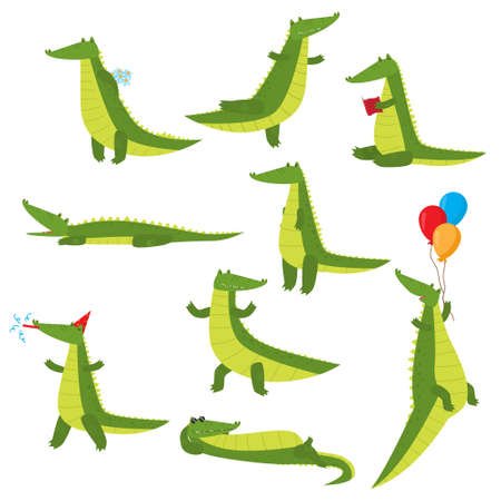 Set of fun green crocodiles occupying a pleasant pastime. Green alligator reads a book, flies on balloons, swims, dreams, eats and more. Illustration isolated on white background.